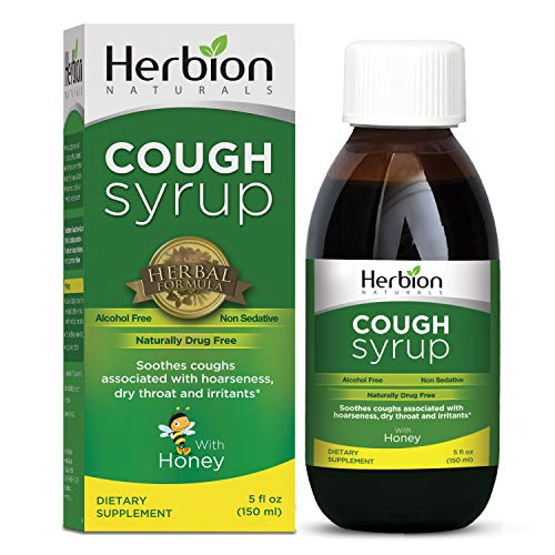 Herbion Naturals Cough Syrup with Honey 5 fl oz /El Jarabe Para La Tos Con Miel/ - Naturally Tasty, Relieves Cough, Soothes Throat, Promotes Healthy Bronchial Mucosa and Lung Function