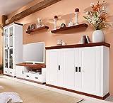 clever-moebel Wohnwand aus Kiefernholz, weiß/kirschbaumfarben lackiert, Schrank