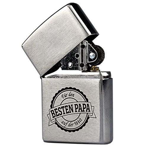 Zippo Feuerzeug mit Gravur 'Bester Papa der Welt' auf Chrome Brushed Benzinfeuerzeug - Geschenk zum Geburtstag & Weihnachten - Vater - Vatertag