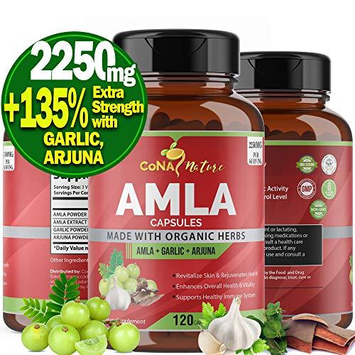 Organic Amla Capsules 2250mg & Arjuna, Garlic  Natural Vitamin C Supplements, High Antioxidants, Rejuvenator  Supports Immunity, Energy Booster  Gluten Free Vegan India Amalaki Extract Fruit, 120 Caps