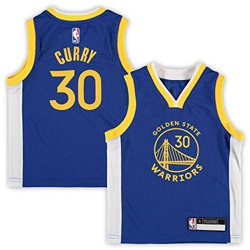 NBA Kids 4-7 Official Name and Number Replica Home Alternate Road Player Jersey (4, Stephen Curry Golden State Warriors Blue Icon Edition)