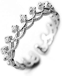 Princess Crown Tiara Royal Queen CZ Band Rings Cubic Zirconia 925 Sterling Silver Engagement Open Tail Rings Dainty Adjust...