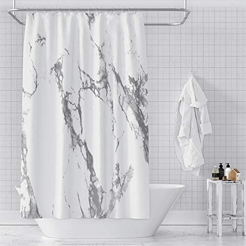 """Renaiss White and Grey Shower Curtain Marble Pattern Gray Tile Crack Waterproof Modern Fabric Shower Curtain with Hooks for Hotel Bathroom Showers, Stalls, and Bathtubs, Machine Washable 72"""" X 74"""" -  183x188YXT01122"""