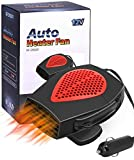 QIFUN Portable 12V Car Heater Fast Heating Quickly Defrost Defogger Demister Heating & Cooling Fan Auto Dryer Windshield Defroster Plug in Cigarette Lighter (Car Heater)