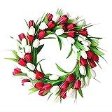 UUHUKP Corona de tulipán artificial, corona de tulipán rojo, blanco, corona de tulipán de seda floral, tulipanes y hojas artificiales vibrantes para puerta delantera, boda, decoración del hogar