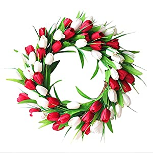 GWOKWAI Artificial Tulip Flower Wreath for Front Door Decor, 19.7in Silk Fake Tulip Wreath with Leaves, Welcome Spring Summer Wreath for Home Window Wall Hanging Ornaments Wedding Decor