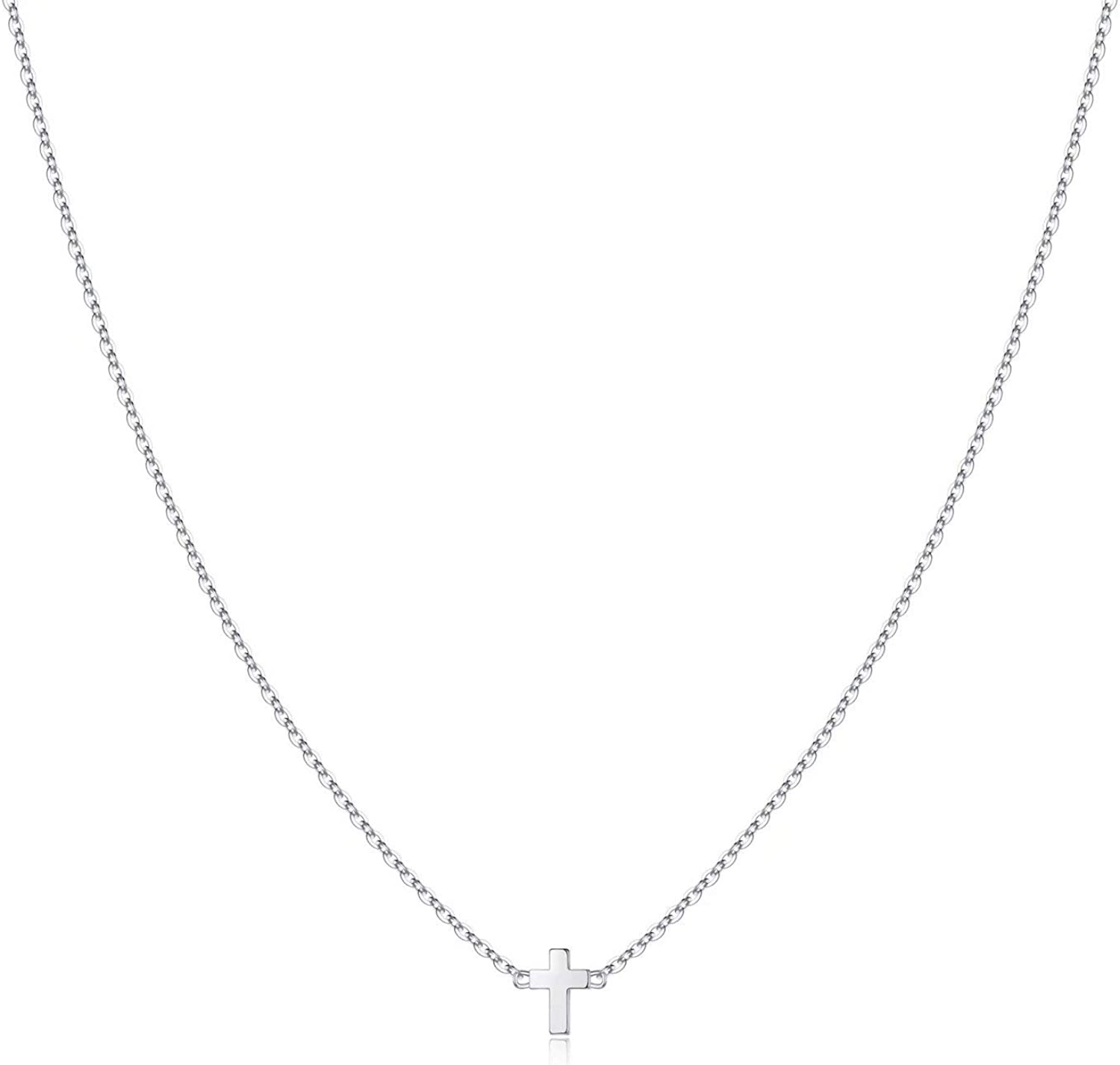 Turandoss Cross Necklace for Women - 14K Gold Filled Small Cross Pendant Simple Sideways Cross Necklace for Women Jewelry Gifts 14 16 Inches Chain Gold/White God/Rose Gold