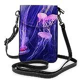Hdadwy Monedero pequeño para teléfono celular de moda submarina de mar profundo de medusas, bolso de hombro multiusos, cartera
