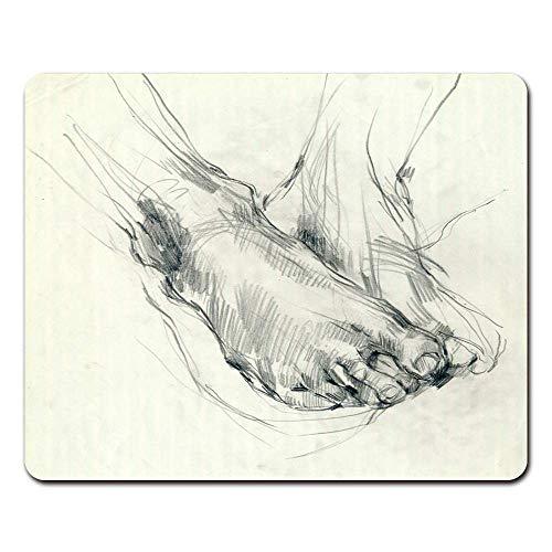 Mauspads Körper Handzeichnung Fußsohle Mischtechnik Bleistift und Kohle Skizze Mauspad für Notebooks, Desktop-Computer Mausmatten, Büromaterial