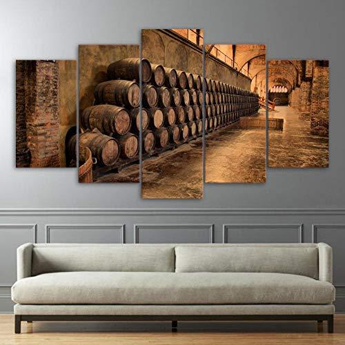 Chuixiaoxiao1 Pintura en Lienzo de 5 Piezas de Panel Impresiones HD Bodega Cartel Moderno Arte Pared decoración del hogar para la decoración del Fondo del Dormitorio de la Sala de Estar