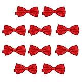 DonDon Set de 10 Pajarita para hombre de 12 x 6 cm ajustable y lista para usar - Rojo
