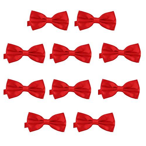 DonDon Set da 10 papillon da uomo 12 x 6 cm già legato e infinitamente regolabile – rosso