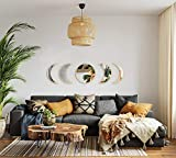 MAXROCK Moon Phase Mirror Set, Scandinavian Natural Moonphase Room Decor Bohemian Moon Mirror Wall Decorations for Living Room Bedroom(Acrylic,Not Actual Mirror