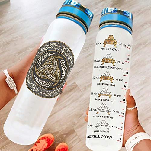 Hothotvery Botella deportiva impresa vikinga gris luna, mitología nórdica, sin BPA, 1 litro, antigoteo, para exterior, color blanco, 16, 1000 ml