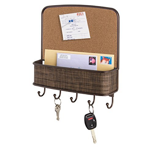 mDesign Cork Board with Mail & Key Organizer for Kitchen, Hallway, Entryway - Wall Mount, Bronze