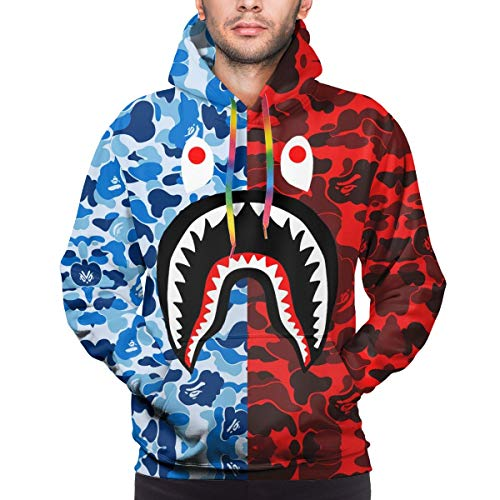 Blue Red Bape Blood Shark Men's 3D Long Sleeves Hoodie Sportswear Sport Hooded Sweatshirt Lightweight Pullover