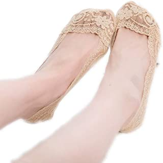 Dames No Show Lace Sokken, Katoen Casual Laag gesneden Liner Boot Sokken Niet Slip(5 paar)