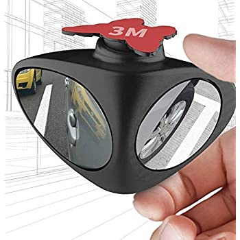 Automaze 3R Car Rear Double View Blind Spot Parking Mirror Adjustable Wide Angle, Blind Spot For Car Tyre (Left)