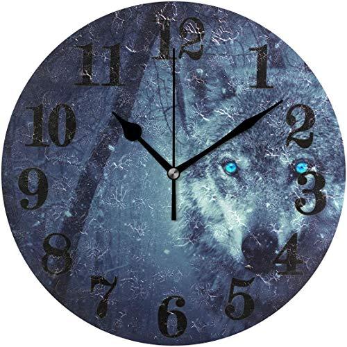 gardenia store Reloj de pared redondo clásico del lobo de la nieve que no funciona con pilas