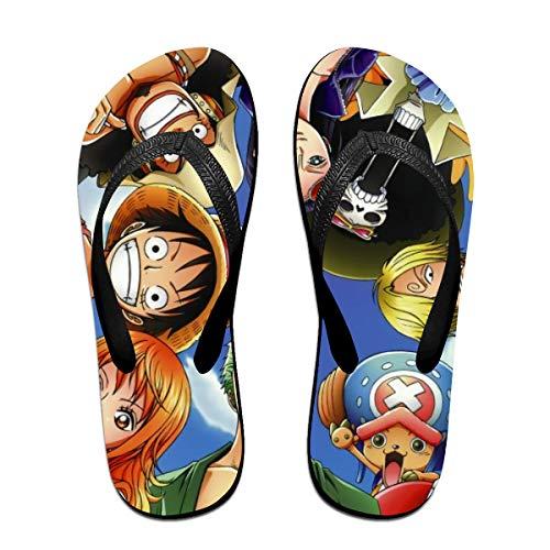 One Piece Anime Flip Flops Beach Sandals Thong Slippers for Indoor Outdoor Bathroom Shower Black