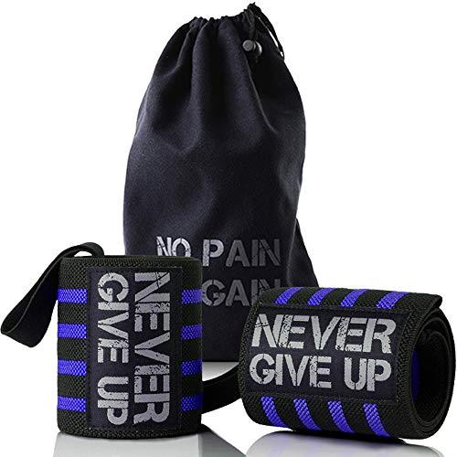 HYFAN Professionelle Handgelenkbandage, Bandage mit Daumenschlaufe für Powerlifting, Bodybuilding, Krafttraining, dunkelblau