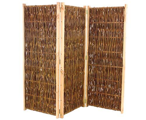 bambus-discount.com Trennwand mobil aus Weiden, Paravent Höhe 180cm x Breite 180cm, 3 teilig - Raumtrenner mobiler Sichtschutz