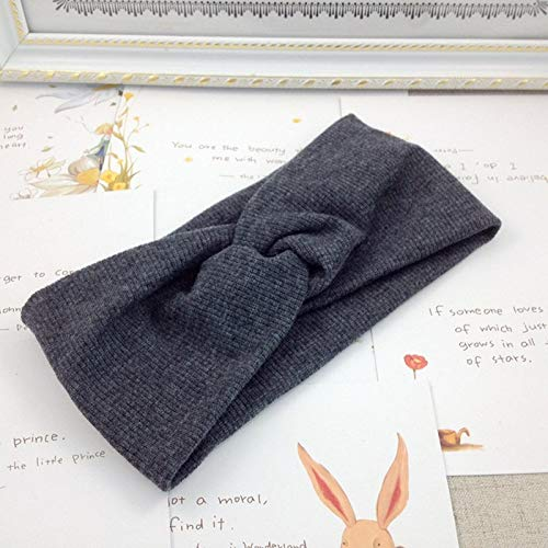 NoraHarry Femmes Bandeau Solide Couleur Large Turban Twist en Tricot de Coton Hairband Double Spirale Filles Maquillage Bandes élastiques Accessoires Cheveux (Color : Style 1 Dark Grey)