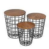 Homfa 3 mesita de café mesas centro redondas mesa auxiliares salón estilo industrial con tapa extraíble para balcón dormitorio madera y negro