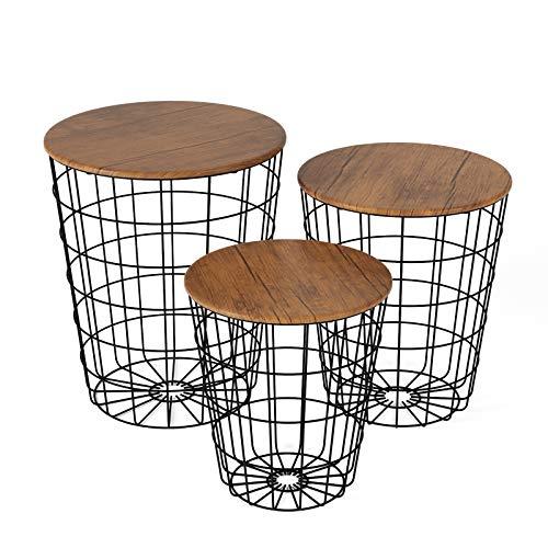 Homfa 3X Beistelltisch Couchtisch Wohnzimmertisch Kaffeetisch dekorativer Satztisch Set Metallkorb mit abnehmbare Tischplatten rund Metall Modern Holz im Industrie Design Schwarz