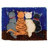 Latch Hook Alfombra Kits Kits de Gancho de Cierre Alfombra Bordado Punto Alfombra de Felpa Shaggy Decoration DIY Decoración para el hogar,Four Cats,50cm/20 Inch