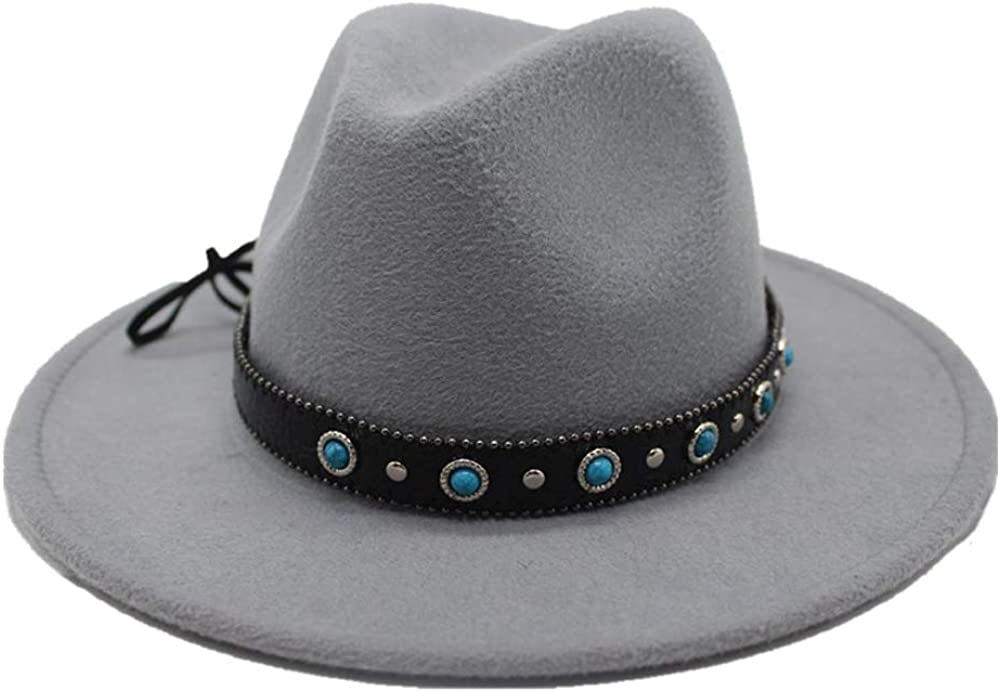 Top Hat Jazz Hats Fedora Hat Wool Wide Belt Blue Stone Decorative Rivet Punk Wind Fedora Winter hat