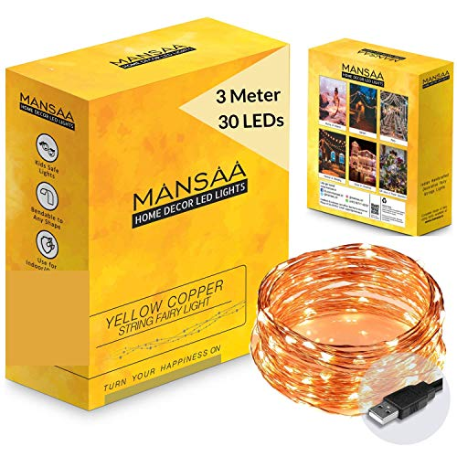 MANSAA® USB String Lights for Decoration 3M 30 LED USB Powered, Made in India, Yellow LED Light (3 mtr (1 Pack))
