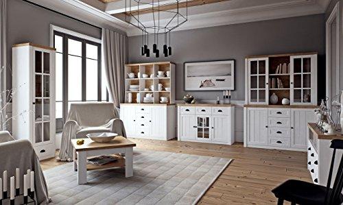Wohnzimmer Komplett - Set A Segnas, 8-teilig, Farbe: Kiefer Weiß/Eiche Braun