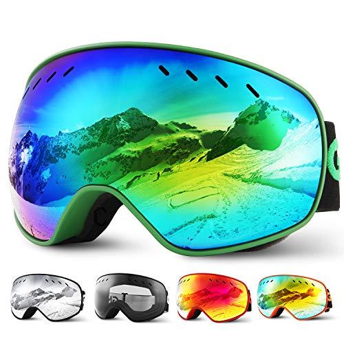 Glymnis Skibrille Snowboard Brille Schneebrille Doppel-Objektiv Schutzbrillen UV-Schutz Anti-Nebel Winddicht für Skifahren Skaten Damen und Herren Jungen und Mädchen mit Reißverschlussbox Grün01
