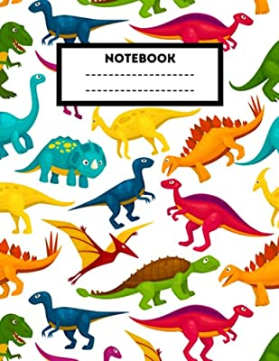 Composition Notebook: Dinosaur Wide Ruled Book   8.5 x 11 in, 120 Pages   Back to School Supplies for Boys and Girls, Students and Teachers (Rainbow) from Independently published
