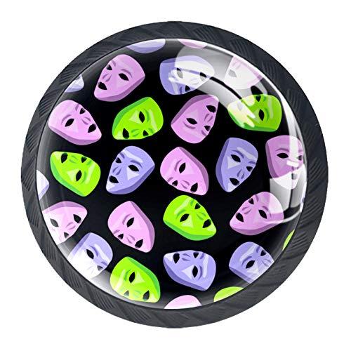 Manijas para cajones Perillas para gabinetes Perillas Redondas Paquete de 4 para armario, cajón, cómoda, cómoda, etc. - Rosa Verde Violeta Alien