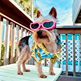 PETLESO Dog Goggles for Small Dogs, Adjustable Foldable Dog Glasses Small Breed Dog Sunglasses with Foam for Riding, Driving, Pink