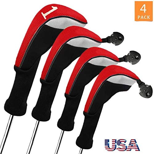 Golf Club Head Covers Woods Driver Fairway Hybrid 3/4/5 Set, Headcovers Men 1 3 5 7 X Interchangeable Number Tag, Fit Nike Ping Mizuno Titleist 460CC (Red 4 Pack, 1 Driver&1 Fairway&2 Hybrid)