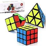 ROXENDA Speed Cube Set, Cubos de Velocidad de 2x2 3x3 Pirámide, Super-Durable Cubo Mágico con Colores Vivos, Giro Fácil y Juego Suave para Principiantes y Profesionales