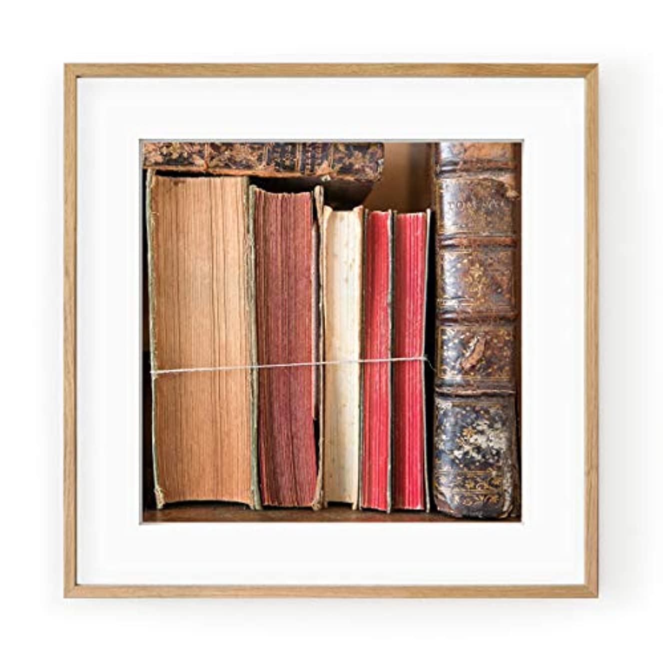 Old Books, Solid Oak Natural Frame, with Mount, Multicolored, 40x40