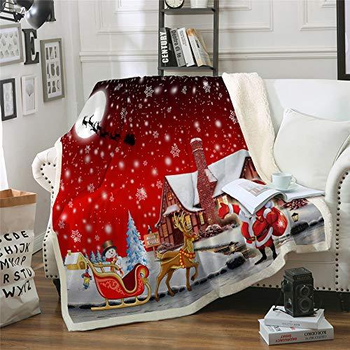 Coperta Babbo Natale coperta rossa fiocco di neve Galassia Coperta da fiocco di neve, stampa digitale, morbida microfibra, velluto di cristallo lato A, velluto di lana bianco lato B, 130 × 150 cm