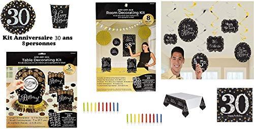 Mgs33 Kit Plus Anniversaire 30 Ans Complet décoration Table 8 Personnes (8 Assiettes, 8 gobelets, 8 Serviettes, 1 Nappe...) fête Joyeux Anniversaire Or doré argenté Gold Silver Brillant