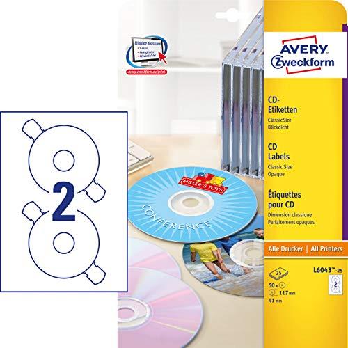 AVERY Zweckform L6043-25 selbstklebende CD-Etiketten (50 blickdichte CD-Aufkleber, Ø 117mm auf A4, ClassicSize, Papier matt, bedruckbare Klebeetiketten für alle A4-Drucker) 25 Blatt, weiß