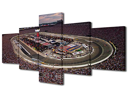 Wall Decorations for Living Room Bristol Rustic Yankees Home Decor F1 Speedway Artwork Canvas Paintings Native House Wall Art Pictuers NASCAR Race 5 Piece Posters and Prints Framed Ready to Hang