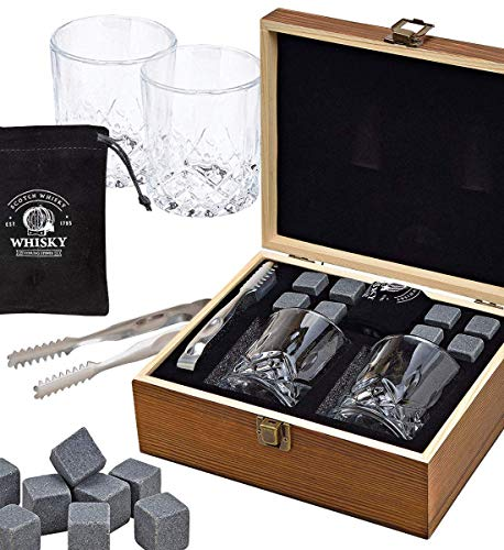 LordsFinest 2 Whisky Gläser, 8 Whiskey Steine, Geschenk-Holzbox, Beutel, Zange - Wiederverwendbare Basalt Whiskysteine statt Eiswürfel
