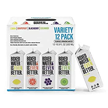Boxed Water Variety Pack Flavored Water 16.9 oz  12 Pack  – Purified Drinking Water with Natural Flavor 92% Plant-Based Boxes – Zero Calories & Sugar Free
