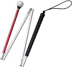 Aluminio Baston Blanco para Ciegos y Baja Vision Plegable, 4 Secciones, 123cm (48.4 pulgada)