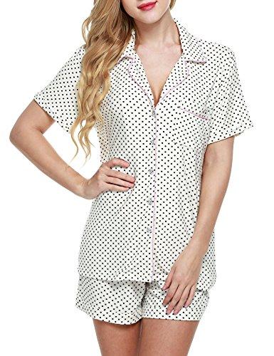 Ekouaer Short Sleeve Button Down Pj Set with Pajama Shorts, White With Black Dots, Medium