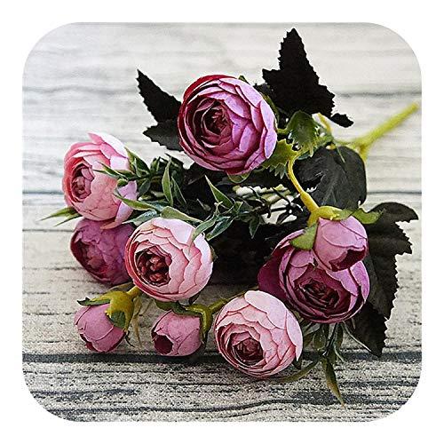 Fostudork Flores Artificiales | 9 Jefe/Ramo de decoración Falso Rosa de té de Flores del Peony Inicio Penoy Boda Ramo de Flores Bud decoración de la habitación, D