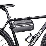 Asvert 3L Bolsa de Manillar Bicicleta MTB Multifuncional,Bolsa Impermeable para Manillar,Bolsa Bici Manillar Universal para Cualquier Bicicleta(Gris)